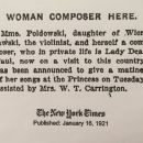 Woman composer here / New York Times, 16.01.1921 r.